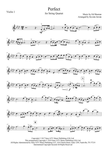Download Perfect (Ed Sheeran) - For String Quartet Sheet Music By Ed