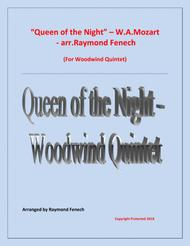 Queen of the Night - From the Magic Flute - Woodwind Quintet (Flute; Oboe; B Flat Clarinet; Horn in F and Bassoon)