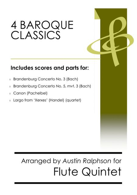 4 Baroque Classics - flute ensemble or quintet bundle / book / pack
