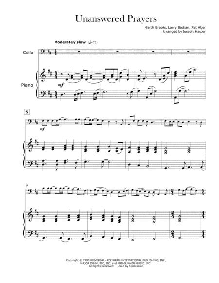 Download Unanswered Prayers (Cello And Piano-Key Of D) Sheet