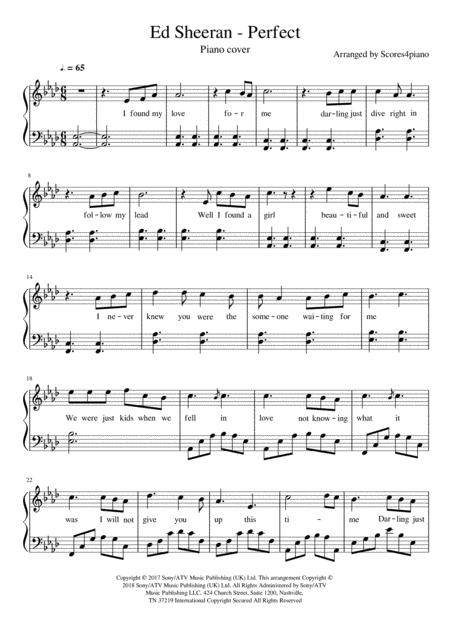Download Perfect - Ed Sheeran (Piano Cover) Sheet Music By