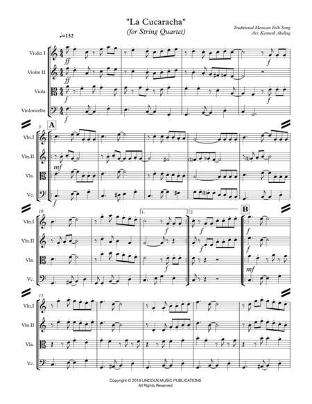 la cucaracha (for string quartet) by mexican folk song - digital sheet music  for score,set of parts - download & print s0.374173   sheet music plus  sheet music plus