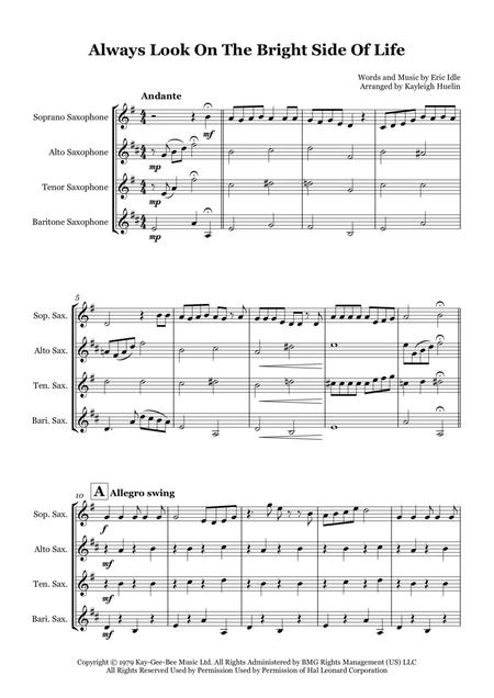 Always Look On The Bright Side Of Life by Monty Python - Saxophone quartet (SATB)