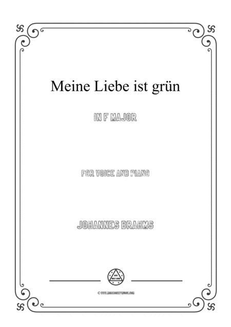 Brahms - Meine Liebe ist grün in F Major for voice and piano