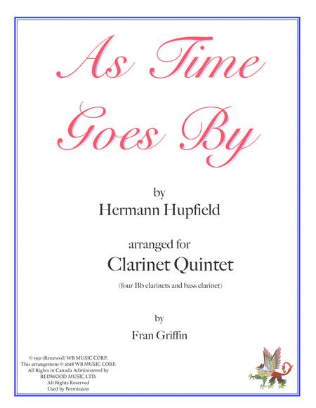 As Time Goes By arranged for Clarinet Quintet