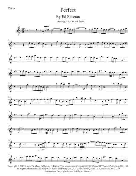 Download Perfect (Easy Key Of C) - Violin Sheet Music By Ed
