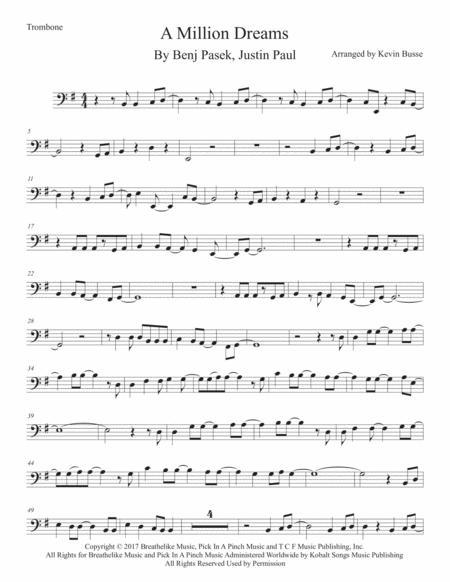 A Million Dreams (Original key) - Trombone