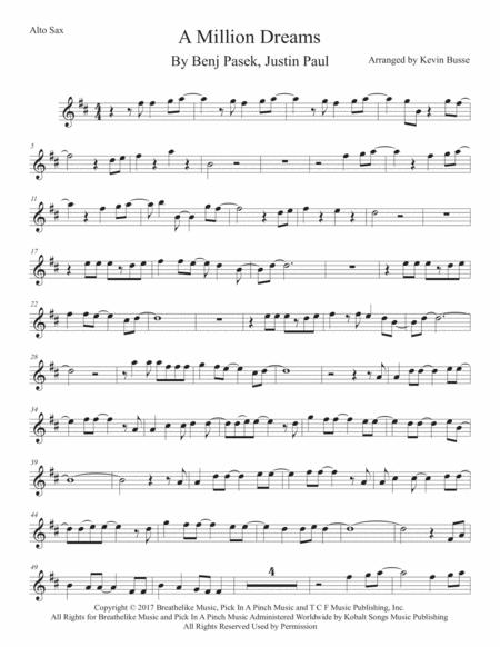 Download A Million Dreams - Alto Sax Sheet Music By Benj