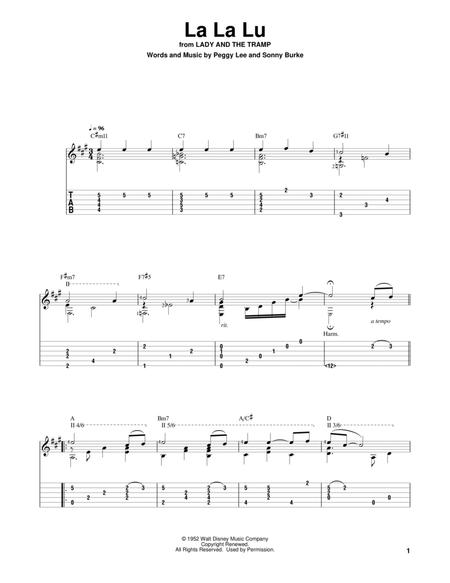 La La Lu From Lady And The Tramp By Digital Sheet Music For Solo Guitar Download Print Hx 418078 Sheet Music Plus