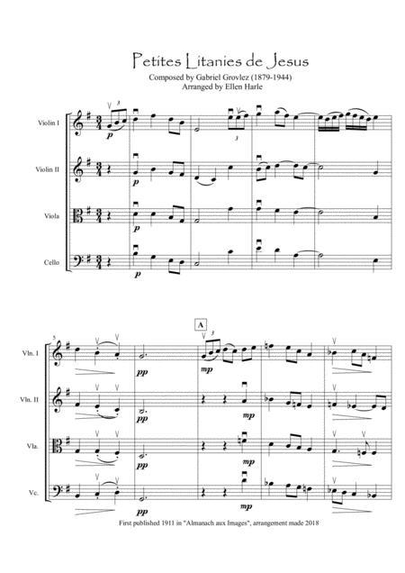 Petites Litanies de Jesus  by Gabriel Grovlez - arrangement for String Quartet