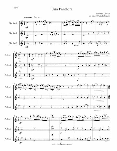 Una panthera in compagnia de Marte (A Panther in company of Mars) arranged for 3 alto saxophones