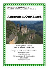 Australia, Our Land - Concert Band with SATB Choir Score and Parts PDF
