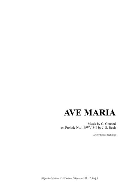 AVE MARIA - Bach-Gounod - For Mezzo-Soprano (or Tenor), or any instr. in C and Piano - in E