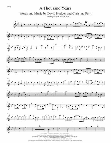 A Thousand Years (Original key) - Flute