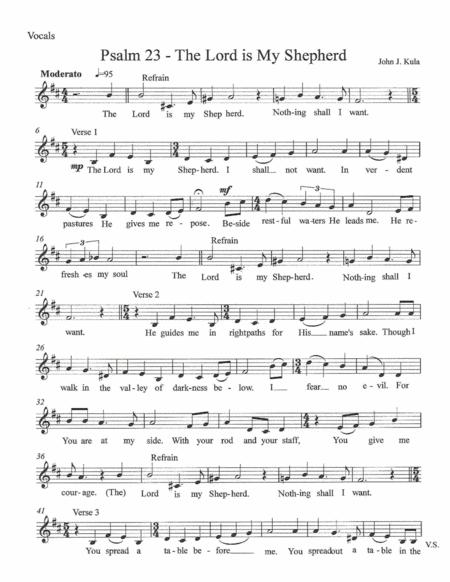 Psalm 23 The Lord Is My Shepherd By John J Kula Digital Sheet Music For Piano Vocal Chords Download Print S0 377907 From John J Kula Self Published At Sheet Music Plus