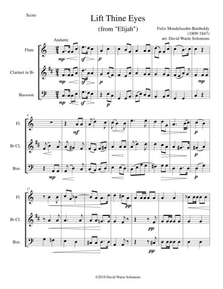 Lift thine eyes (from Elijah) for flute, clarinet and bassoon