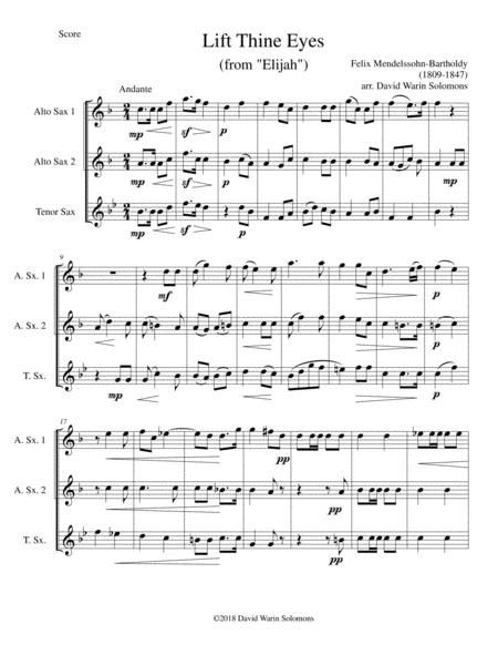 Lift thine eyes (from Elijah) for 3 saxophones