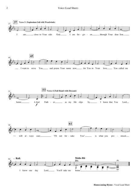Preview Homecoming Hymn - Piano And Vocal Lead Sheet PDF By
