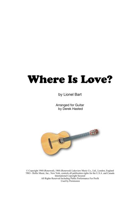 Where Is Love? (Oliver) for Classical Guitar