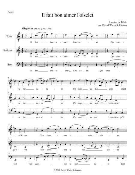Il fait bon aimer l'oiselet for Tenor Baritone Bass (in C)