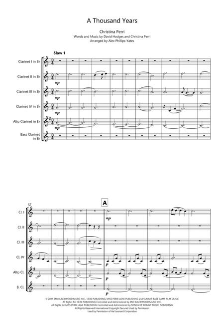 A Thousand Years by Christina Perri (Clarinet Choir or Clarinet Sextet - 4 clarinets in Bb, alto clarinet in Eb or 5th clarinet in Bb, bass clarinet in Bb)