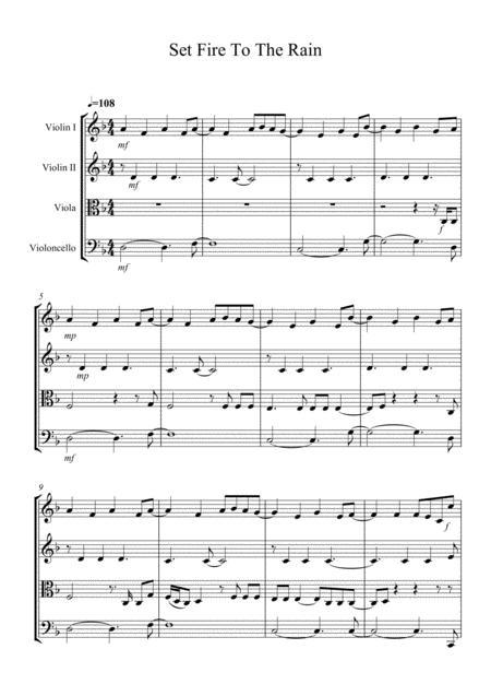 Set Fire To The Rain Arranged for String Quartet
