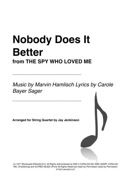 Nobody Does It Better from THE SPY WHO LOVED ME for String Quartet