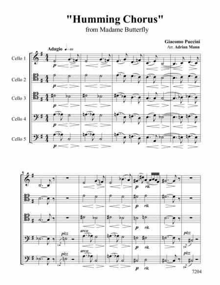 Download Humming Chorus From Madame Butterfly (for 5 Cellos