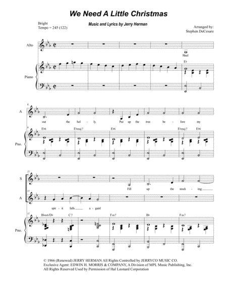 We Need A Little Christmas (for 2-part choir - (SA)