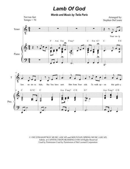 Lamb Of God (for 2-part choir - (TB)