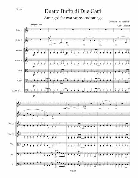 Duetto Buffo de Due Gatti arranged for two voices and string orchestra: Score