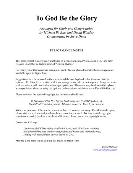 Download To God Be The Glory (choir And Congregation) Sheet