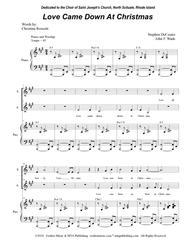 Love Came Down At Christmas.Download Love Came Down At Christmas For 2 Part Choir Sa