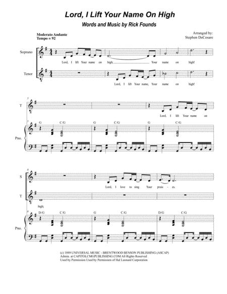 Lord, I Lift Your Name On High (for 2-part choir - (Sop. & Ten.)