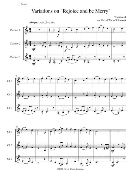 Variations on Rejoice and Be Merry (The Gallery Carol) for 3 clarinets