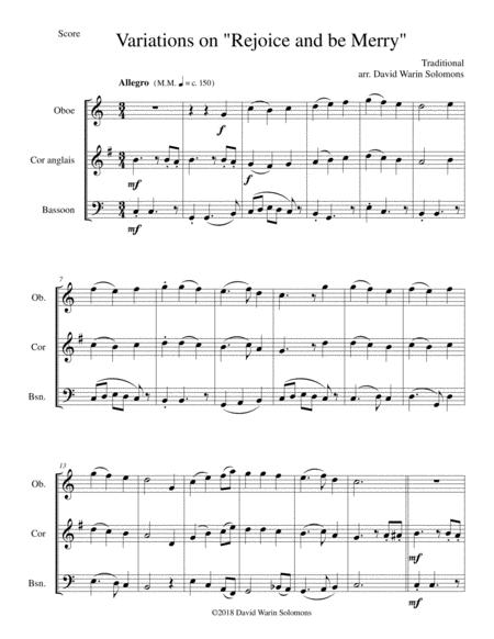 Variations on Rejoice and Be Merry (The Gallery Carol) for double-reed trio (oboe, cor anglais, bassoon)