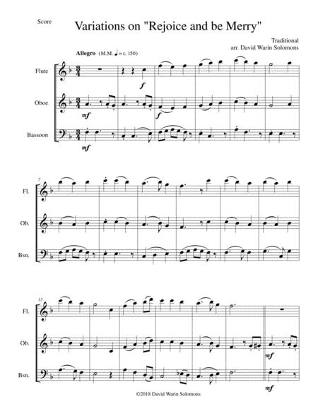 Variations on Rejoice and Be Merry (The Gallery Carol) for wind trio (flute, clarinet, bassoon)