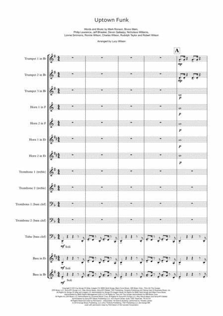 Uptown Funk - for junior brass ensemble