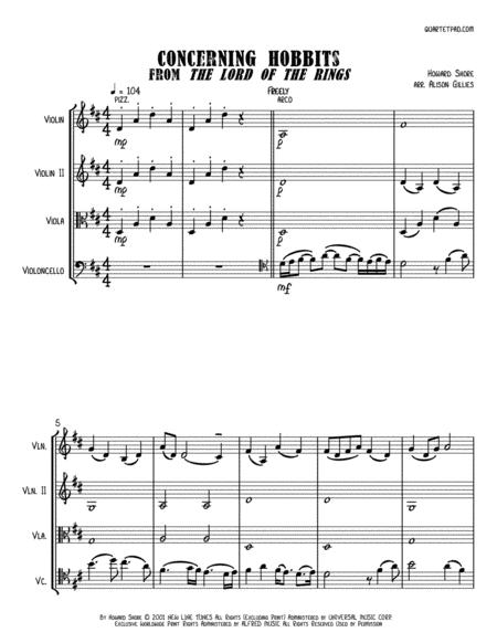 Concerning Hobbits from THE LORD OF THE RINGS - String Trio (optional vln2 or vla)
