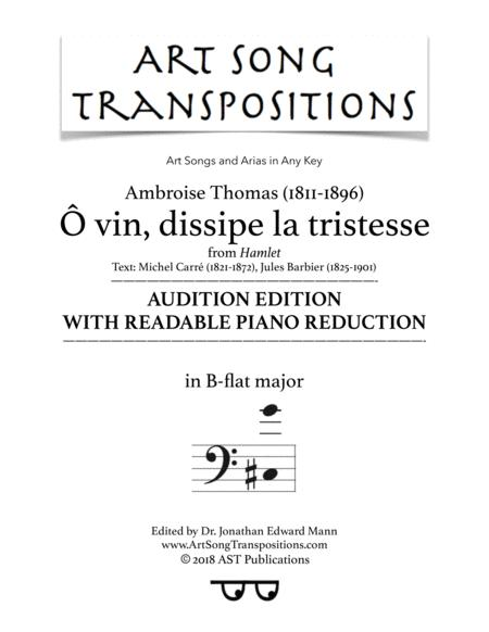 Ô vin, dissipe la tristesse (B-flat major; audition edition with readable piano reduction)