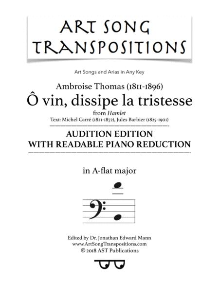 Ô vin, dissipe la tristesse (A-flat major; audition edition with readable piano reduction)