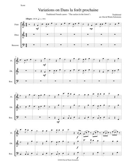 Dans la forêt prochaine (The Cuckoo in the forest) for flute, oboe and bassoon