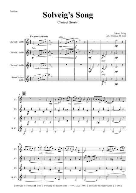 Solveig's Song - from Peer Gynt Suite - Clarinet Quartet