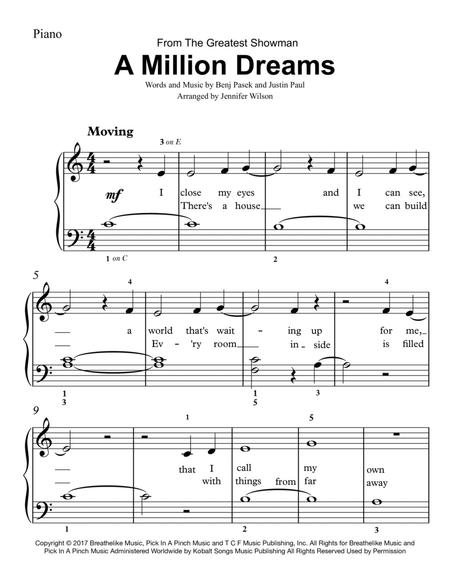 graphic about A Million Dreams Lyrics Printable called Obtain A Million Wants - Basic Piano Sheet New music By means of The