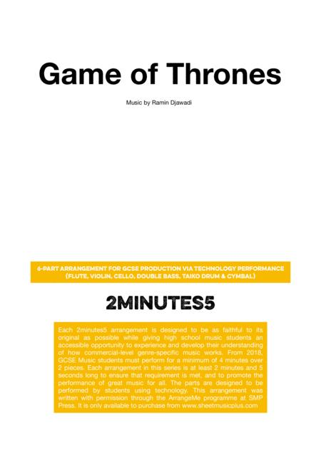 Game Of Thrones - 2minutes5 arrangement for GCSE Music Production Via Technology Performance