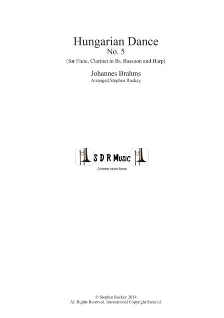 Hungarian Dance No. 5 for Flute, Clarinet in Bb, Bassoon and Harp