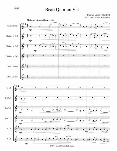 Beati Quorum Via for clarinet sextet or clarinet choir (E flat, 3 B flats, Alto, Bass)