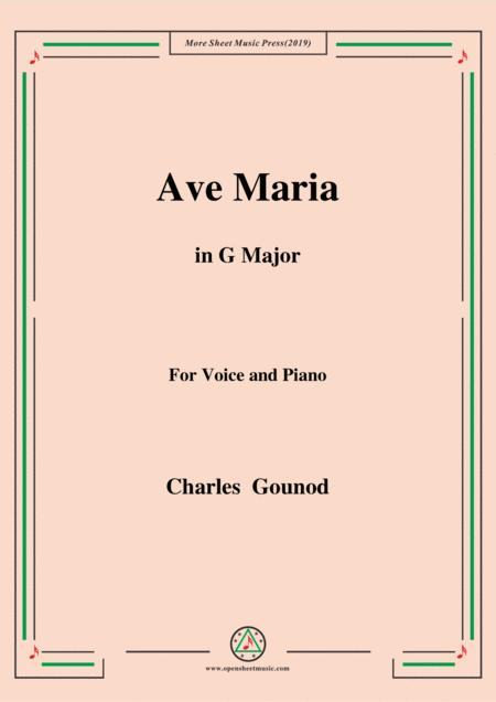 Gounod-Ave Maria in G Major,for voice and piano