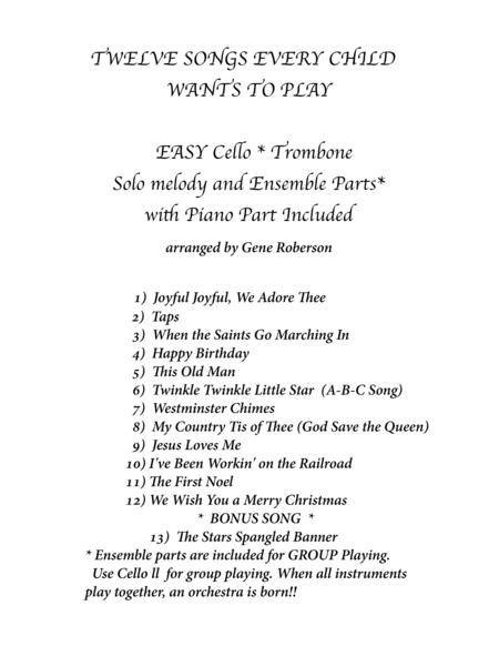 Twelve Easy Songs for Children Cello or Trombone  Other C Bass instruments