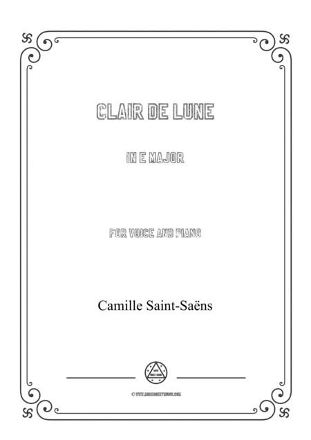 Saint-Saëns-Clair de lune in E Major,for voice and piano